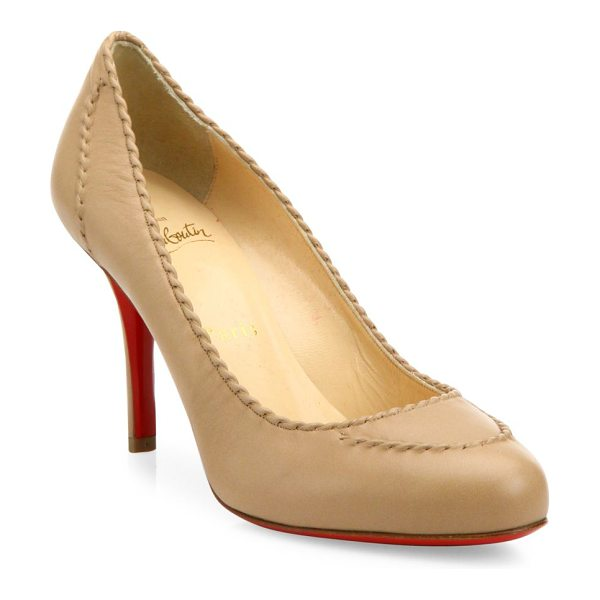 Christian Louboutin Marpelissimo twisted leather pumps in nude - Timeless leather round-toe pump with twisted trim....