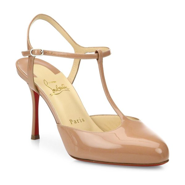 Christian Louboutin me pam 85 patent leather t-strap pumps in nude - Classic patent leather silhouette with slender T-strap....