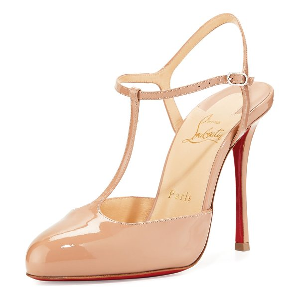 Christian Louboutin Me Pam Patent T-Strap 100mm Red Sole Pump in nude - Christian Louboutin patent leather pump. Available in...