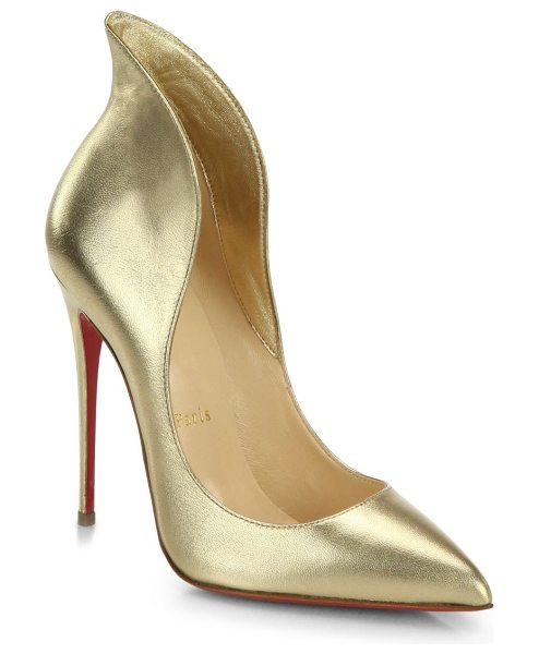 Christian Louboutin Mea culpa metallic leather high-back collar pumps in gold - A sky-high stiletto heel and high-back collar elongate...
