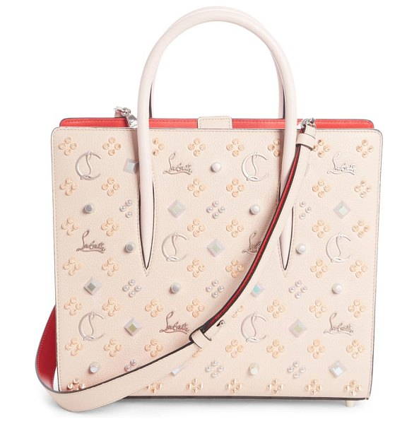 Christian Louboutin medium paloma leather tote in beige - Glossy patent side gussets framed in Louboutin red add...