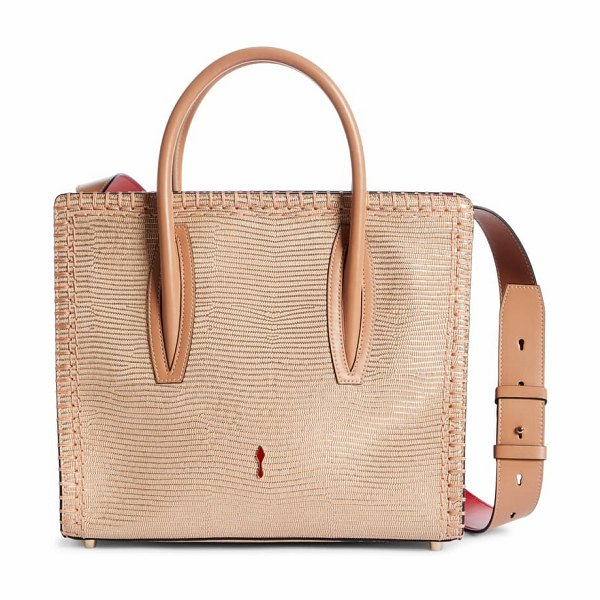 Christian Louboutin medium paloma lizard embossed calfskin leather tote in beige