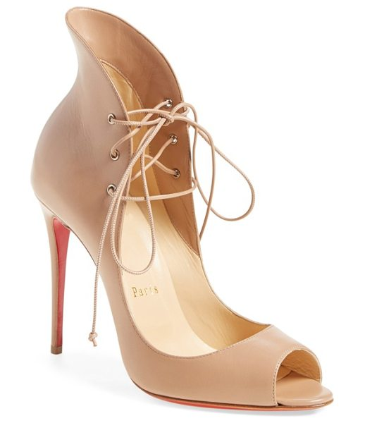 Christian Louboutin 'megavamp' flared peep toe pump in nude leather - Christian Louboutin's iconic sole-born from a fateful...