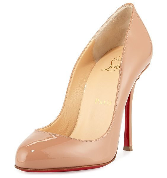 "Christian Louboutin Merci Allen Patent 100mm Red Sole Pump in nude - Christian Louboutin patent leather pump. 4"" covered..."