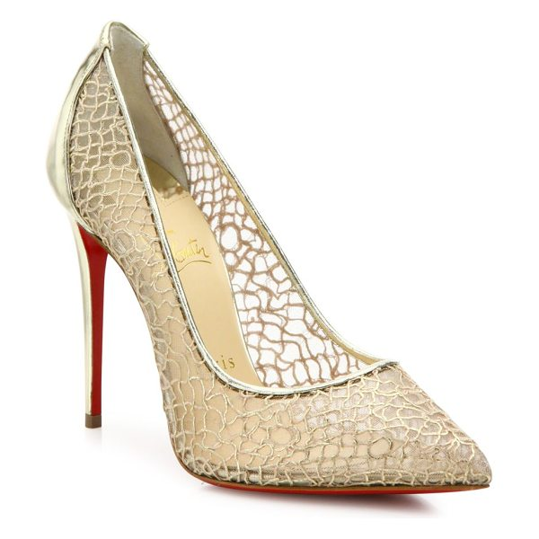 Christian Louboutin Follies lace & metallic leather point-toe pumps in gold - Mesh point-toe pumps with swirly metallic overlay....
