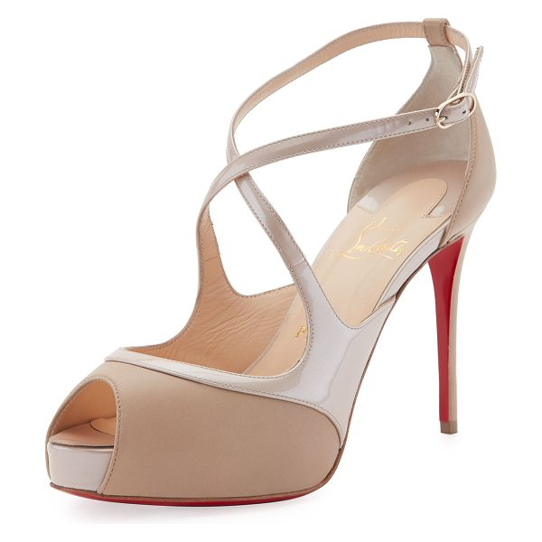 "Christian Louboutin Mira Bella Crisscross Platform Red Sole Sandal in nude - Christian Louboutin napa and patent leather sandal. 4""..."