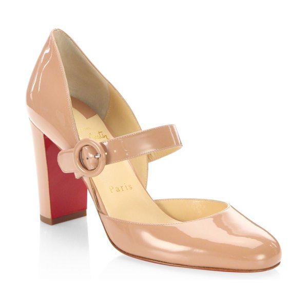 Christian Louboutin miss kawa 85 patent leather mary jane block heel pumps in nude - Timeless Mary Jane pump refined in patent leather....