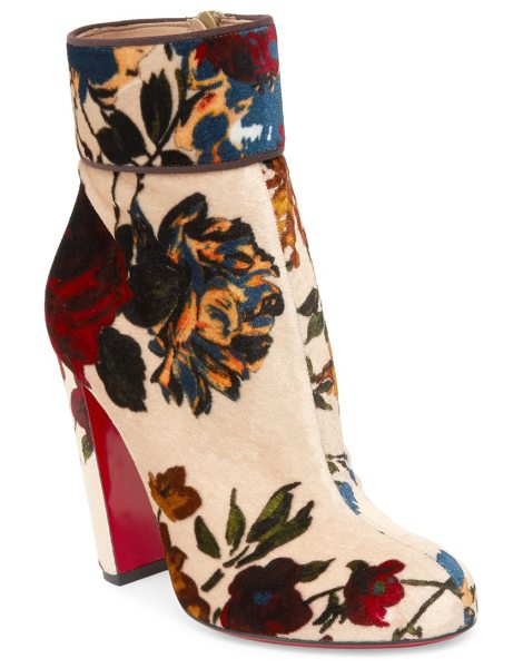 Christian Louboutin moulamax 85 bouquet-print velvet block heel booties in nude multicolor - Painterly bouquet motif emboldens [lush velvet bootie....