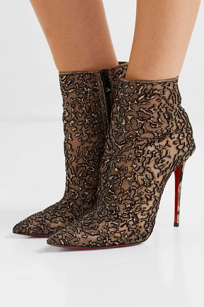 Christian Louboutin nancy 100 embellished lace-trimmed flocked tulle ankle boots in gold