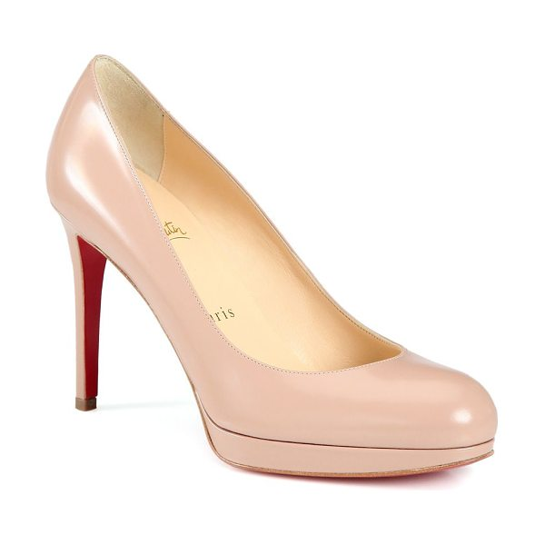 Christian Louboutin new simple patent leather pumps in nude - Essential round-toe pump in sleek patent leather....