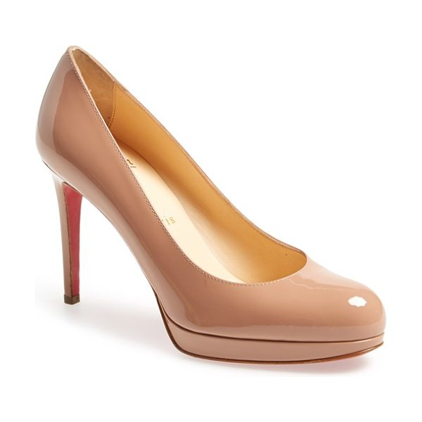 Christian Louboutin new simple platform pump in nude patent - Christian Louboutin's iconic red sole adds understated...