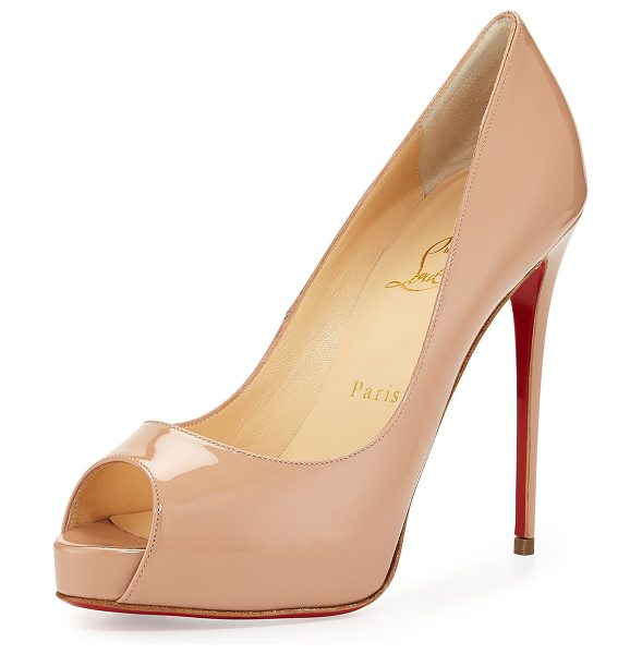 "CHRISTIAN LOUBOUTIN New Very Prive Patent Red Sole Pump in beige - Christian Louboutin patent leather pump. 5"" covered..."