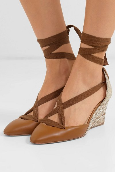 Christian Louboutin noemia 70 leather wedge espadrilles in tan