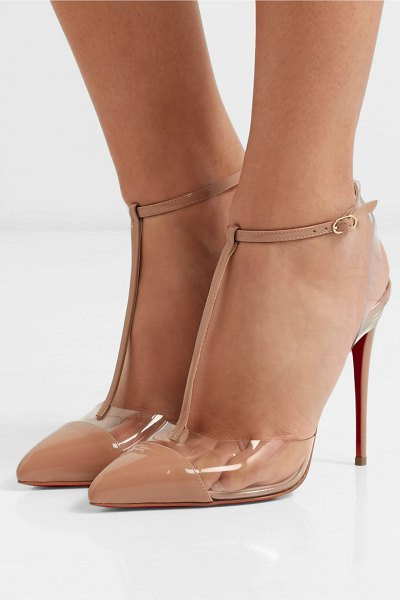 Christian Louboutin nosy 100 patent-leather and pvc pumps in neutral