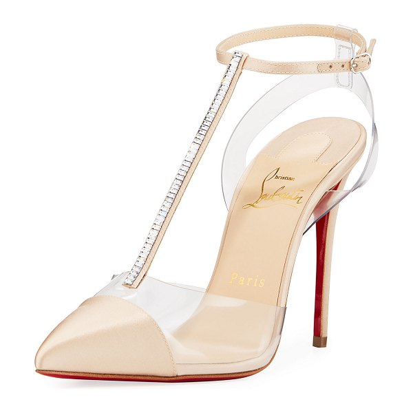 Christian Louboutin Nosy Strass Red Sole Pumps in nude