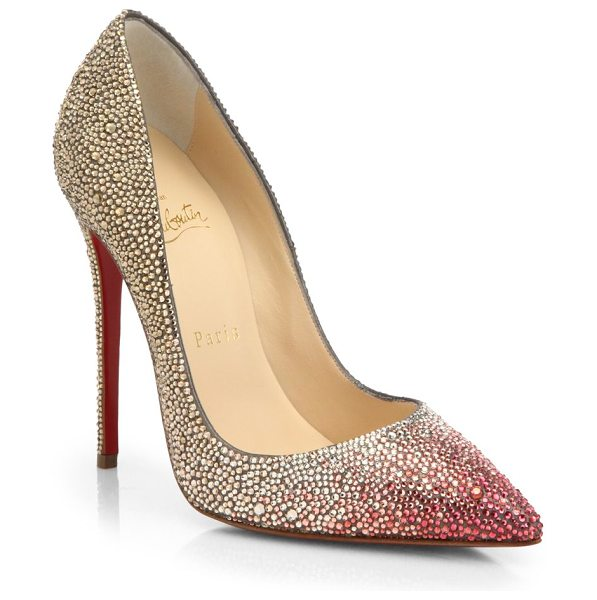 Christian Louboutin Ombré crystal leather pumps in gold-pink - These sophisticated leather pumps are dusted with a...