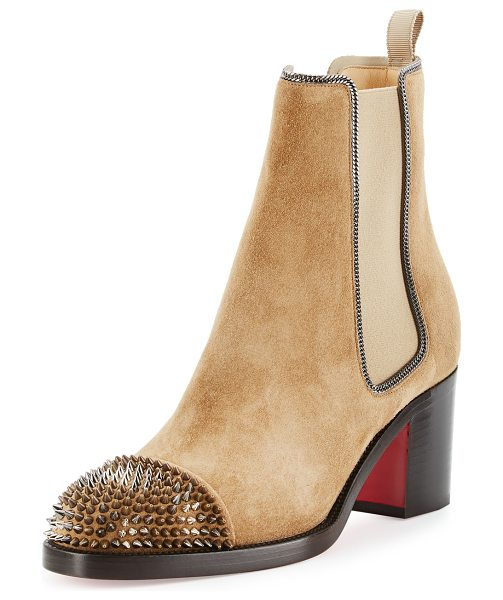 Christian Louboutin Otaboo Spike-Toe 70mm Red Sole Bootie in camel - Christian Louboutin suede Chelsea bootie with fine curb...