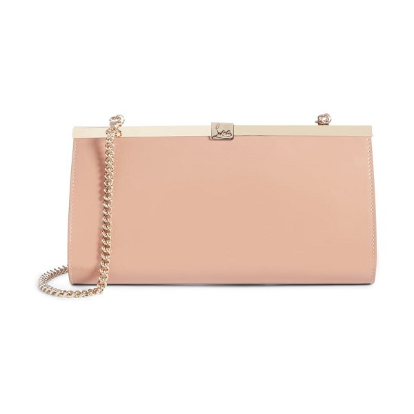 Christian Louboutin palmette patent leather frame clutch in beige
