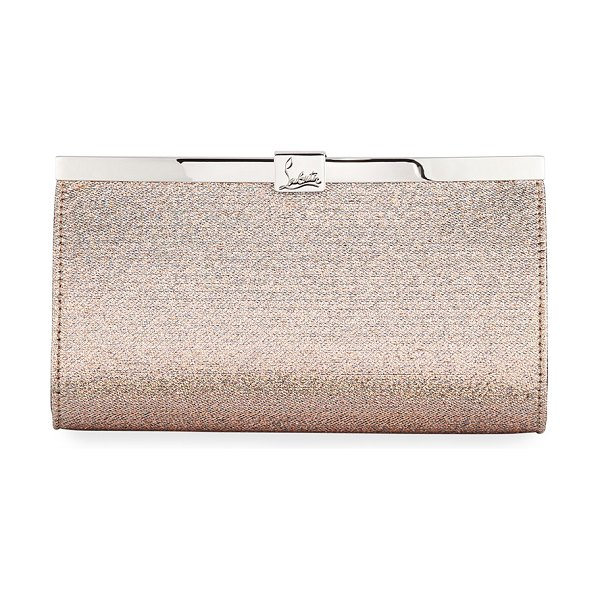 Christian Louboutin Palmette Small Clutch Bag in nude