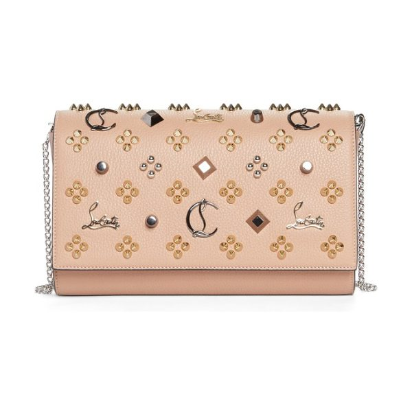Christian Louboutin paloma empire calfskin clutch in nude/multimetal - Glossy patent side gussets framed in Louboutin red add...
