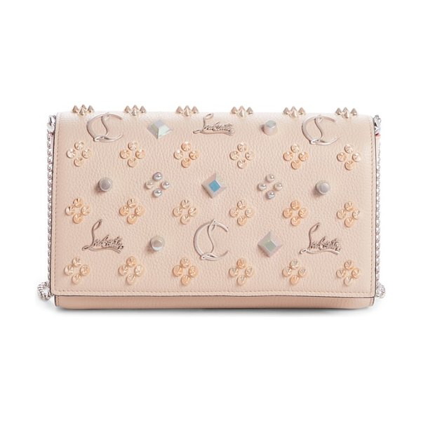 6ca1de891d57 Christian Louboutin paloma empire calfskin clutch in beige - Glossy patent  side gussets framed in Louboutin