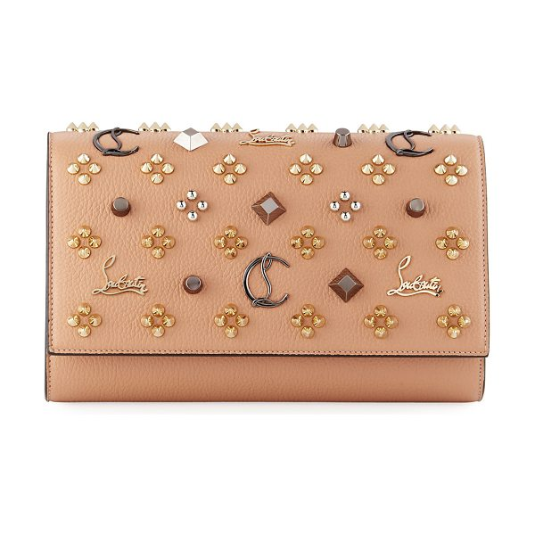 CHRISTIAN LOUBOUTIN Paloma Fold-Over Embellished Clutch Bag - Christian Louboutin grained calfskin clutch bag with...