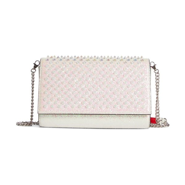 Christian Louboutin paloma glitter spike calfskin leather clutch in metallic