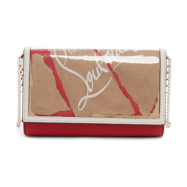 Christian Louboutin paloma kraft leather clutch in kraft/ latte - A playful motif crafted from Christian Louboutin...