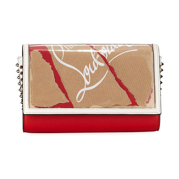 Christian Louboutin Paloma Kraft Loubi Clutch Bag in brown/red - Christian Louboutin clutch bag in PVC and calf leather....