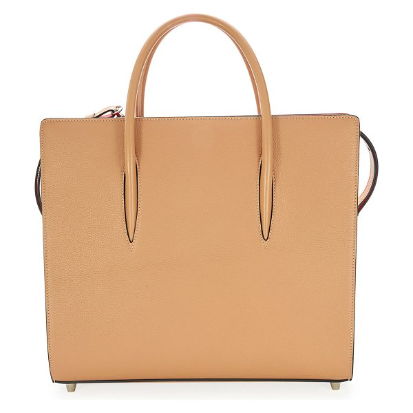 Christian Louboutin Paloma Large Leather Tote Bag in nude - Christian Louboutin calfskin tote bag with spiked patent...