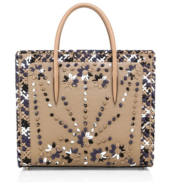 Christian Louboutin paloma large mexinodo leather & denim tote in dune - Structured whipstitched tote with spiked denim sides....