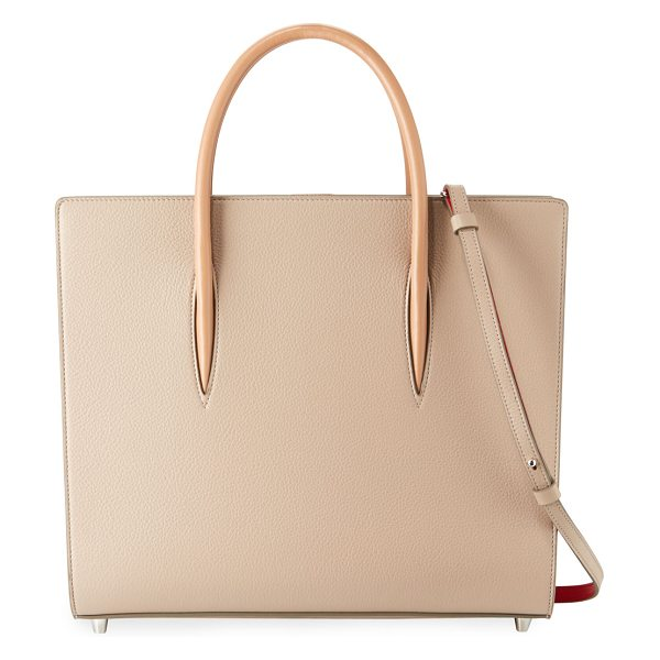 Christian Louboutin Paloma Large Triple-Gusset Tote Bag in beige - Christian Louboutin calfskin tote bag with spiked patent...