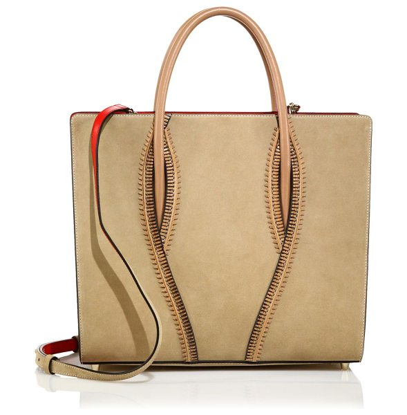 Christian Louboutin Paloma large zipper-trimmed leather tote in beige - Structured leather tote with edgy zipper detailDouble...