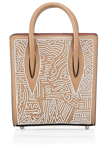 Christian Louboutin paloma nano africamana beaded leather tote in nude - Petite structured leather tote with intricate beading....
