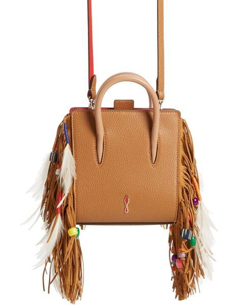 Christian Louboutin paloma nano calfskin tote in safari/ gres - Lavish fringe, entwined with feathers and beads, lines...
