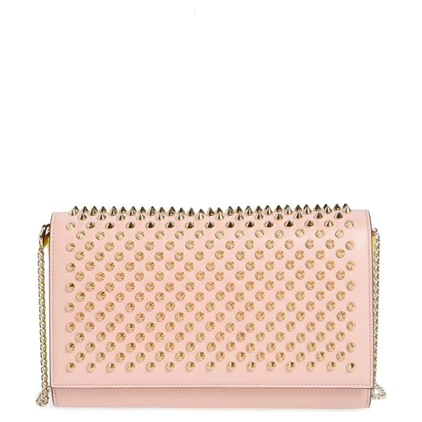 CHRISTIAN LOUBOUTIN 'paloma' spiked calfskin clutch - Edgy metallic spikes lend signature style to a gorgeous...