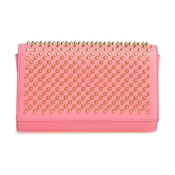 Christian Louboutin 'paloma' spiked calfskin clutch in dolly/ cassis/ gold - Edgy metallic spikes lend signature style to a gorgeous...