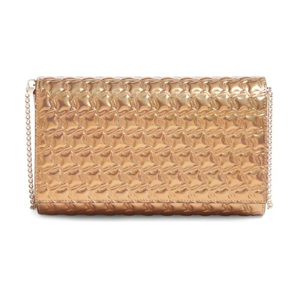Christian Louboutin paloma textured calfskin clutch in cappuccino/nude - A chic texture highlights the glimmering metallic finish...