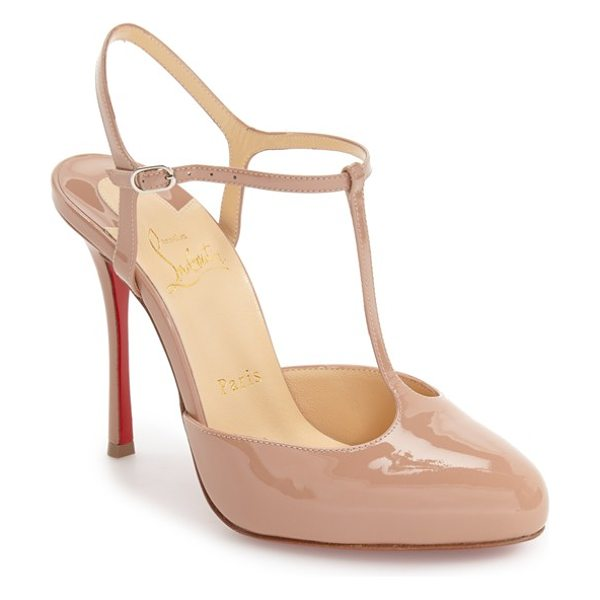 Christian Louboutin pam t-strap pump in nude patent - A slim T-strap and lofty stiletto heel further the...