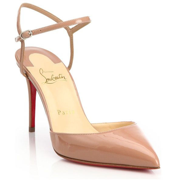 Christian Louboutin riverina patent leather ankle-strap slingback pumps in nude - Ankle strap updates patent leather slingbacks....