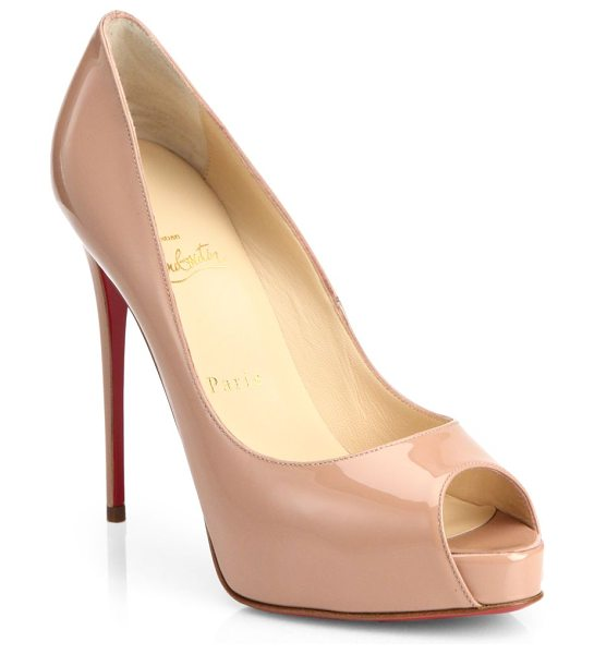 Christian Louboutin new very prive 120 patent leather peep toe pumps in nude