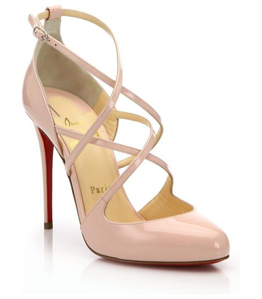 Christian Louboutin Patent leather strappy pumps in pink - Lustrous patent pump with charming strap detail. Covered...
