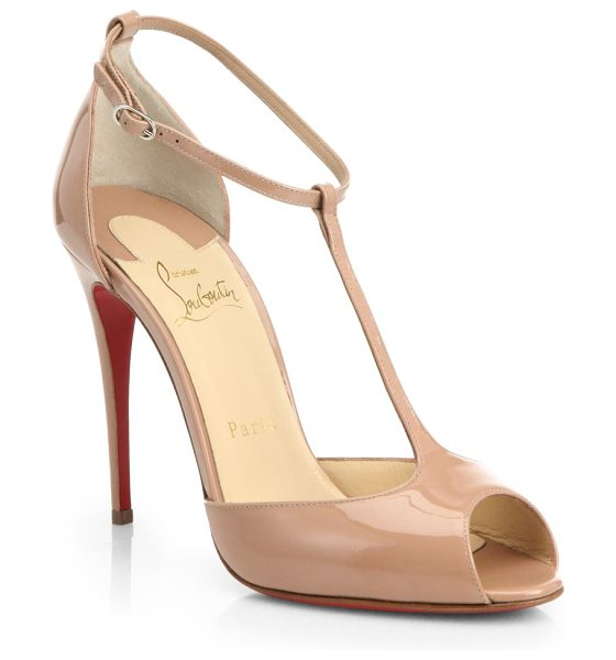 CHRISTIAN LOUBOUTIN Senora patent leather t-strap pumps - Classically glamorous T-strap pumps with a sleek, tall...