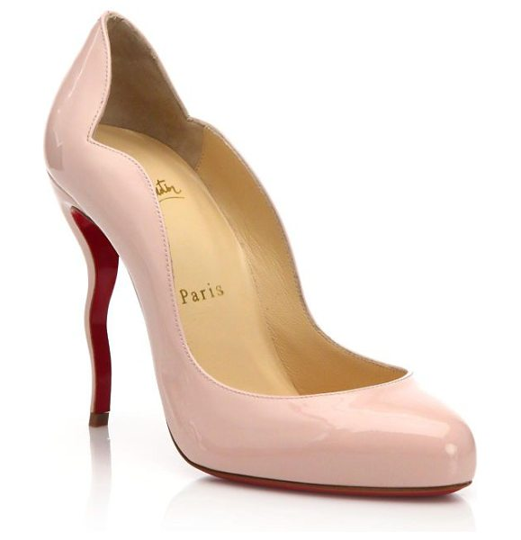 Christian Louboutin Patent leather wavy heel pumps in nude - Wavy heel lifts scalloped patent leather...