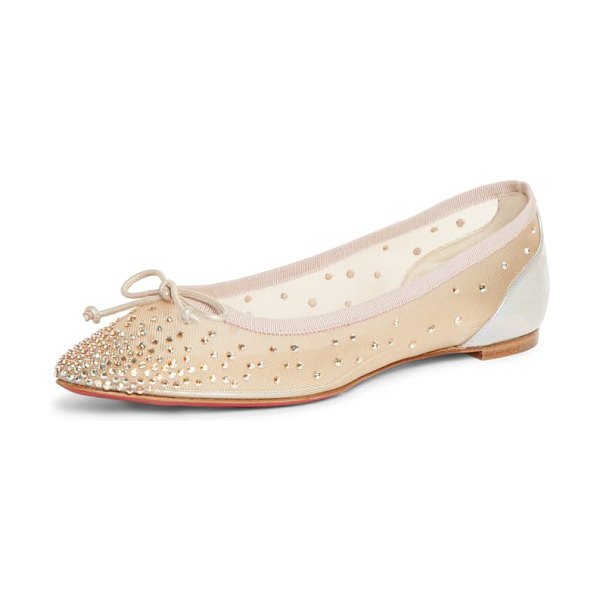 Christian Louboutin patio crystal embellished mesh ballet flat in metallic