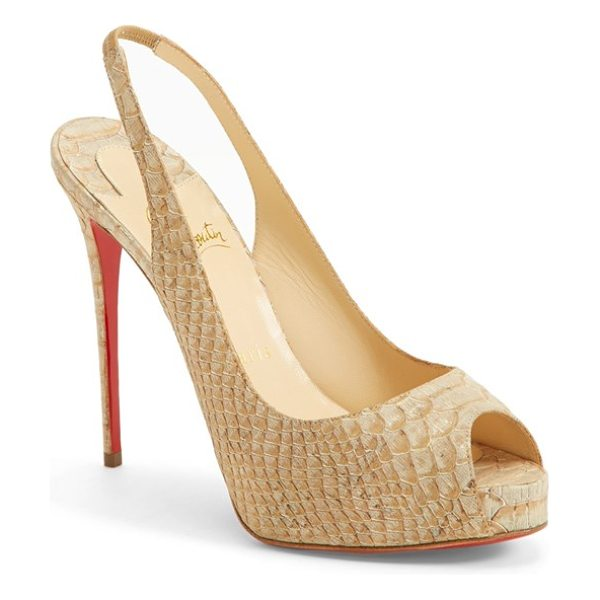 Christian Louboutin peep toe slingback pump in beige - A flirty peep-toe pump pushes the envelope with a...