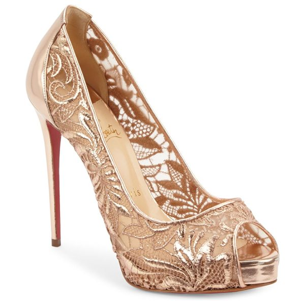 Christian Louboutin peep toe slip-on pumps in nucipria - Slip-on pumps featuring embroidered lace design....
