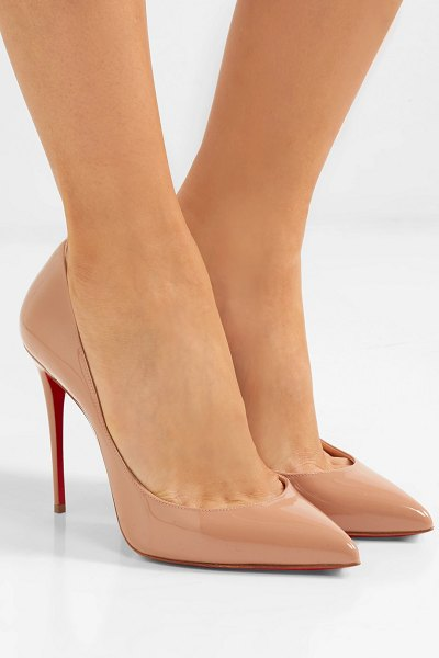 Christian Louboutin pigalle follies 100 patent-leather pumps in neutral - Christian  Louboutin s classic   edbe9f87dec3