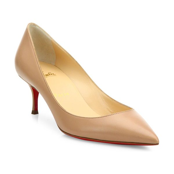 Christian Louboutin pigalle follies 55 leather pumps in nude - Timeless leather point-toe pump set on easy kitten heel....