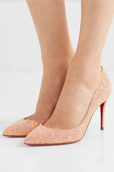 online store c591b 3665f Christian Louboutin Pigalle Follies 85 Glittered Leather Pumps